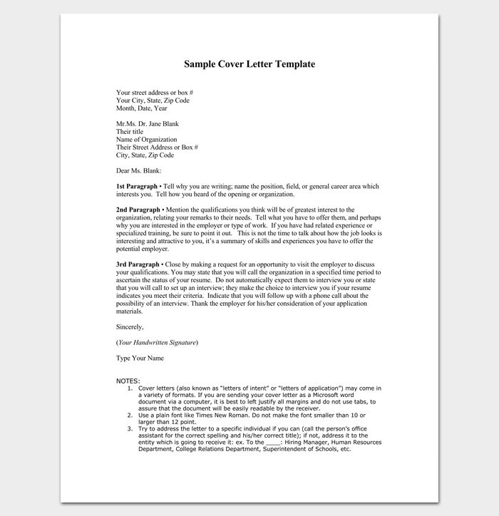 Cover Letter Outline Template - 7+ Samples, Examples, Formats