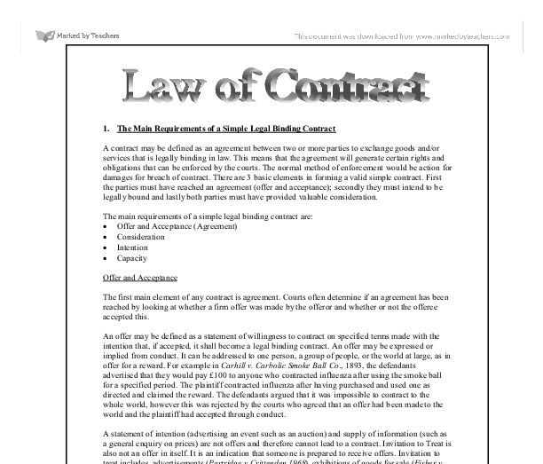 The Main Requirements Of A Simple Legal Binding Contract   Law Of .