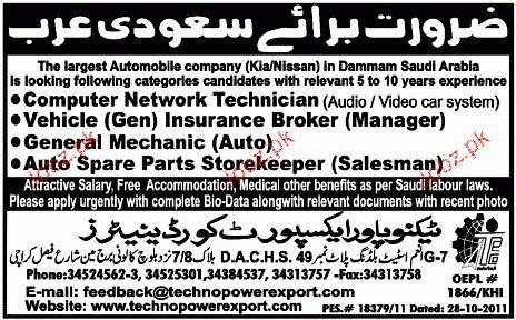 Computer Network Technicians Job Opportunity 2017 Jobs Pakistan ...