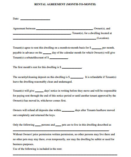 5 Room Rental Agreement Form Templates - formats, Examples in Word ...