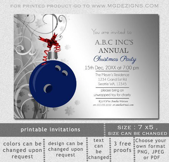 Printable Blue Silver Christmas Bowling Festive Holiday Party