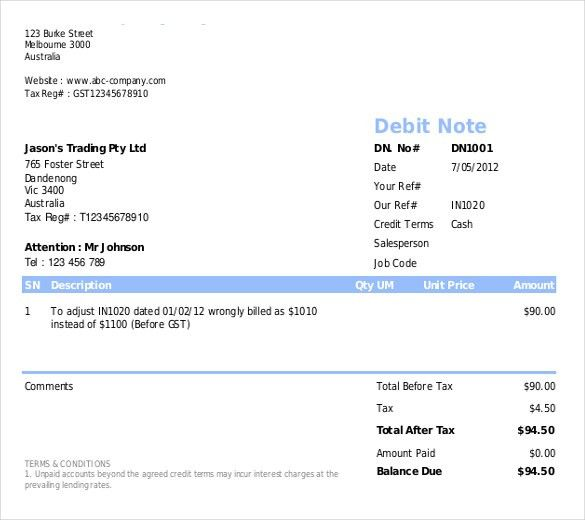 How Debit Note Template Excel Format Helps You Having A Clear ...