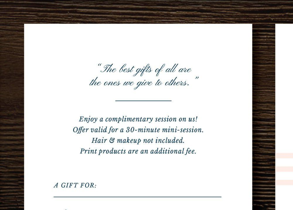 Photography Gift Certificate Template - Gift Card Template for ...