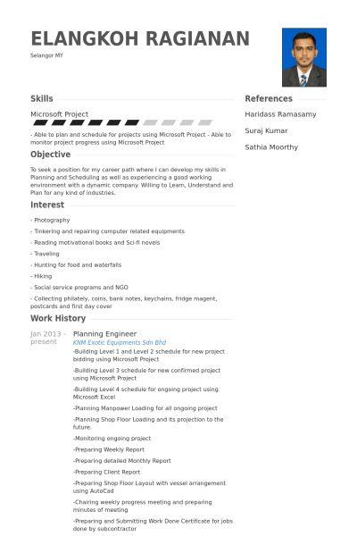 Planning Engineer Resume samples - VisualCV resume samples database