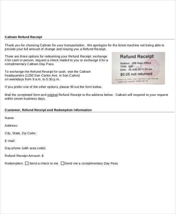 Receipt Forms in PDF