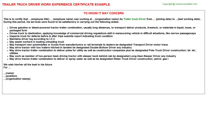 Semi Truck Driver Work Experience Letters