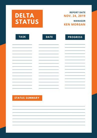 Blue Orange Simple Modern Project Status Report - Templates by Canva
