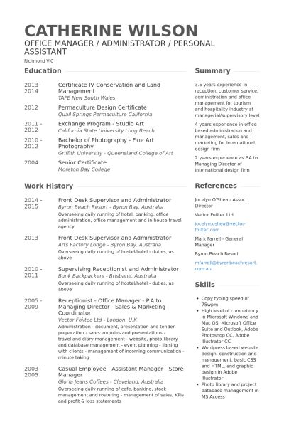 Front Desk Resume samples - VisualCV resume samples database