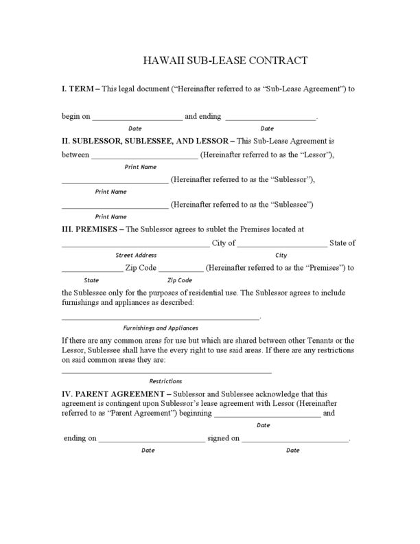 Hawaii Rental Lease Agreement Templates | LegalForms.org