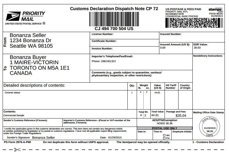Purchase and Print USPS International Shipping Labels on Bonanza