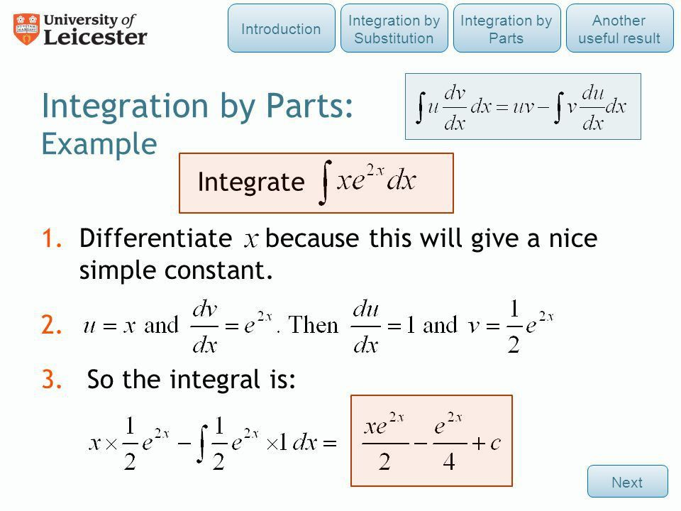 Integration by Substitution and by Parts - ppt video online download