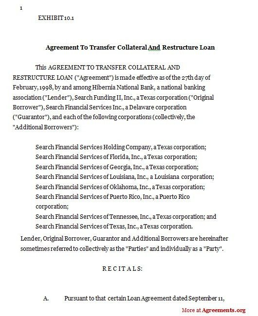 Agreement to transfer collateral and restructure loan,Sample ...