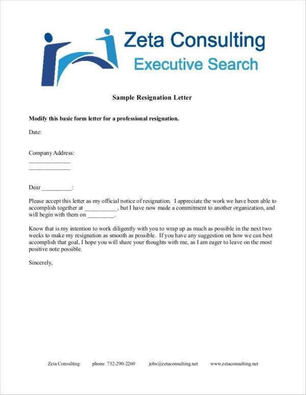 19+ Professional Resignation Letters - Free Word, PDF Format Download