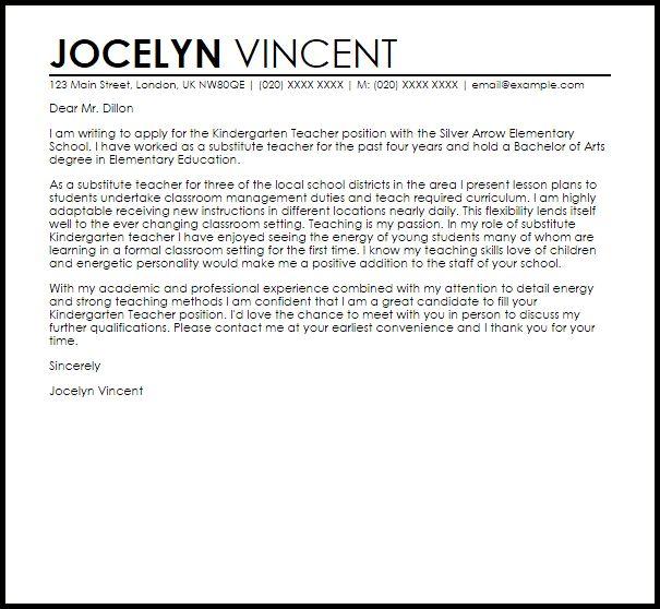Kindergarten Teacher Cover Letter Sample   LiveCareer