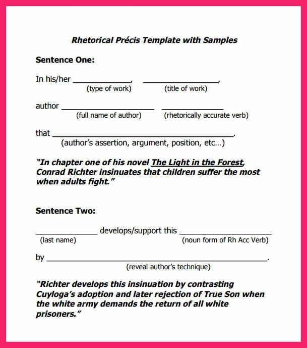 rhetorical precis template | bio letter format