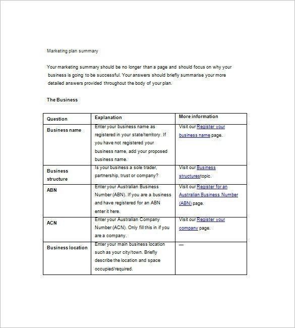 Simple Marketing Plan Template | Template Idea