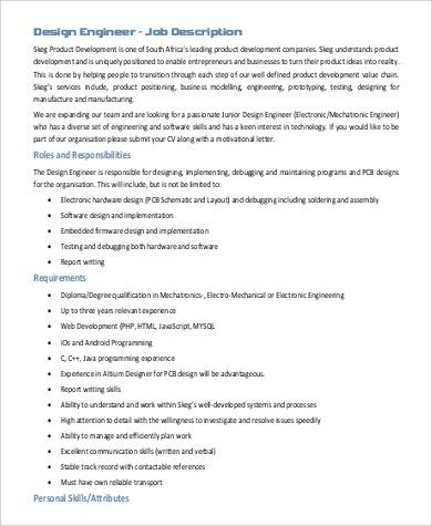 Design Engineer Job Description Sample - 9+ Examples in PDF