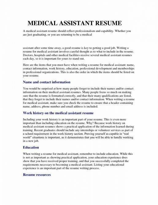 Sample Resume For Medical Assistant With No Experience | Template ...