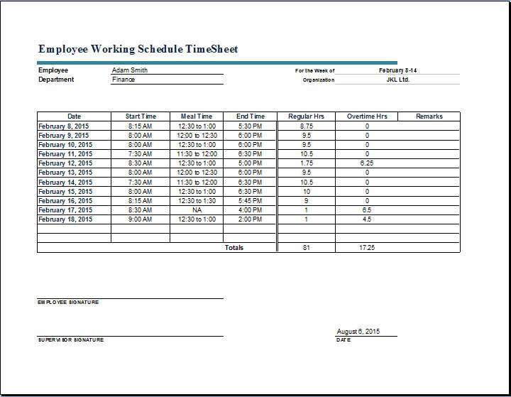 Employee Working Schedule Time Sheet | Word & Excel Templates