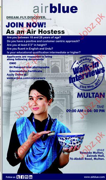 Air Hostess Jobs In Air Blue 2017 Jobs Pakistan Jobz.pk