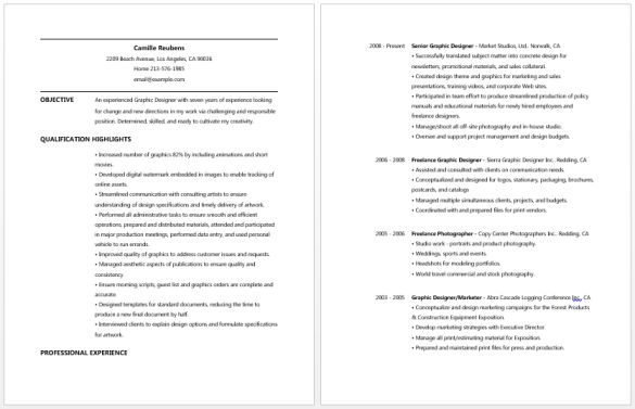 Two Page of Graphic Designer Resume Example with Experienced ...