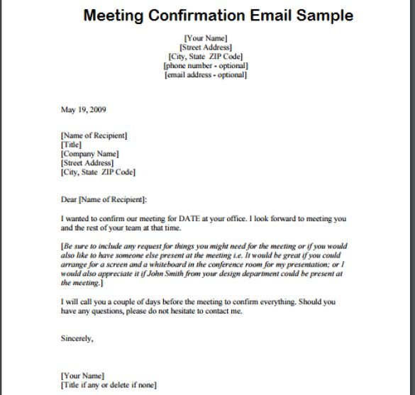 Meeting Confirmation Email - Writing Professional Letters