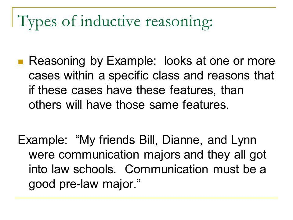 Reasoning. Inductive and Deductive reasoning Inductive reasoning ...