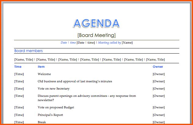 10+ free meeting agenda template | Survey Template Words