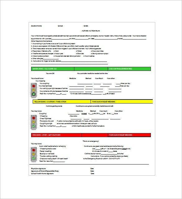Asthma Action Plan Template – 13+ Free Sample, Example, Format ...