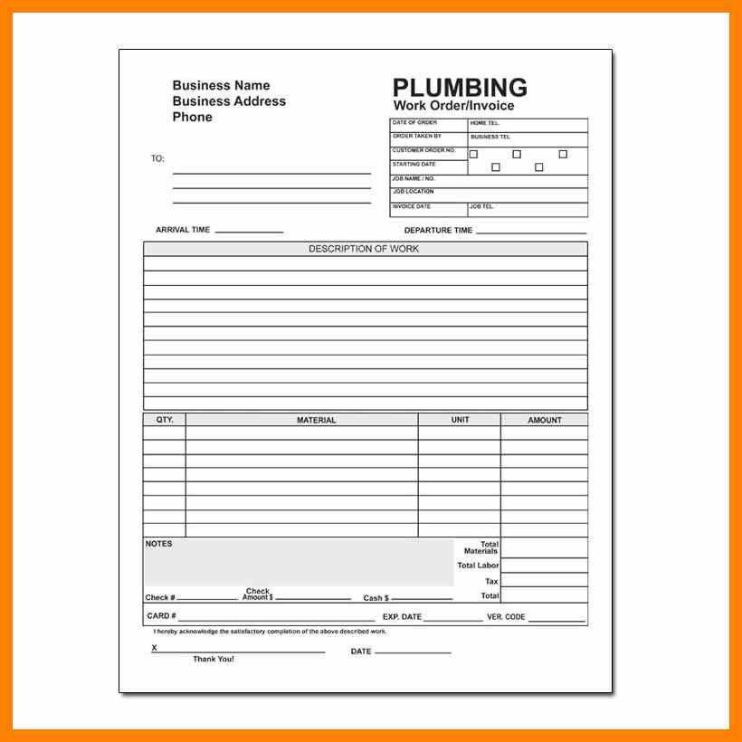 Plumbing Service Invoices | Enwurf.csat.co