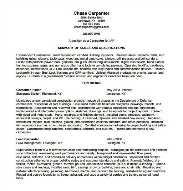 Carpenter Resume Sample. carpenter resume objective resume sample ...