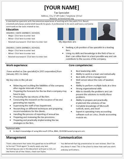 Tax Specialist Resume Templates for MS Word | Resume Templates