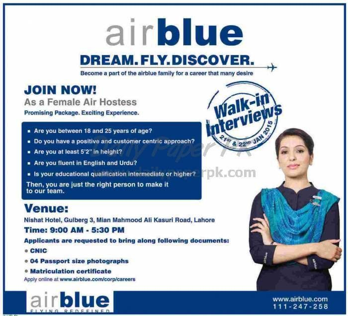 Dream Fly Discover - Walk in Interview - Join Air Blue as Female ...
