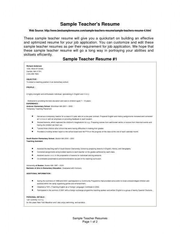 sample resume for fresher teacher job make resume. cover letter ...