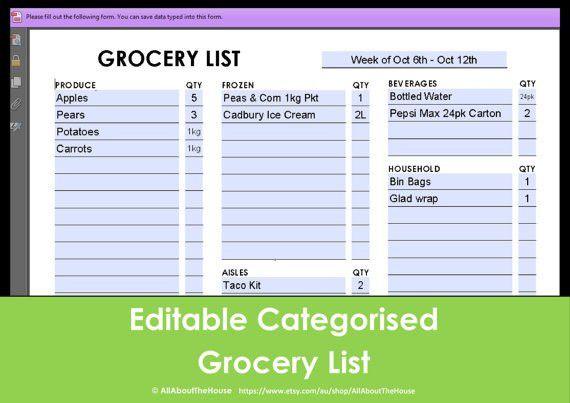 Editable Shopping List Template 21 | Jobs.billybullock.us