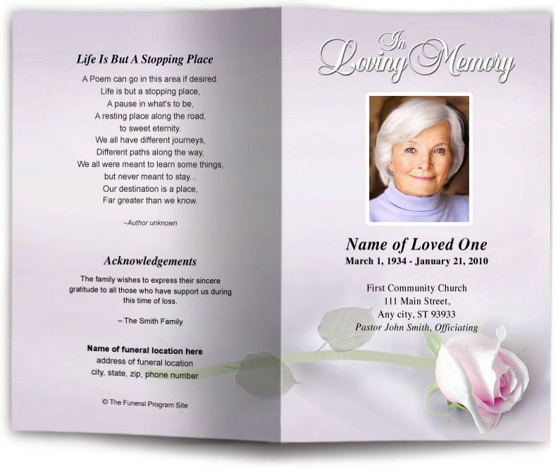 Memorial Pamphlet Template Free 115 | Samples.csat.co