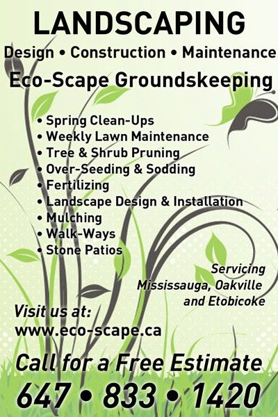Eco-Scape Groundskeeping | Mississauga Landscaping | Services