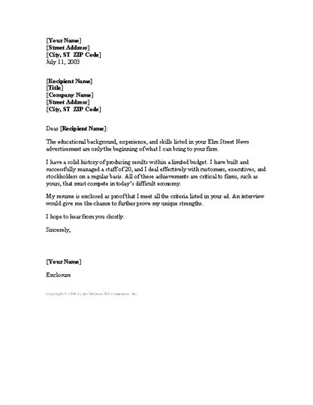 Manager Cover Letter Cover Letters Templates