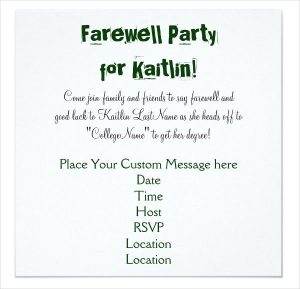 "Farewell Invitation Template. 6"" X 4"" $1 09 Ea View Details ..."