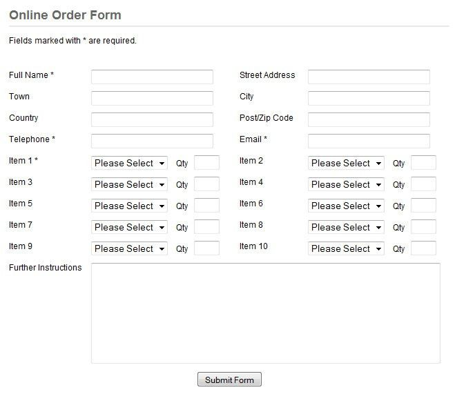 Order Forms - professional order form template scripts for your ...