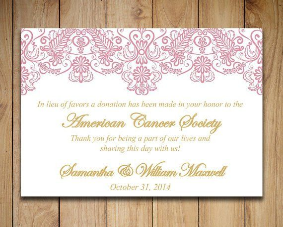 Wedding Favor Donation Card Template Lace Wedding Charity