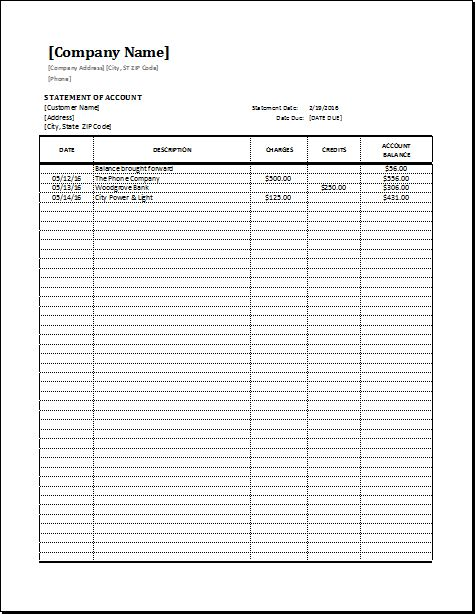 Statement of Account Template EXCEL | Word & Excel Templates