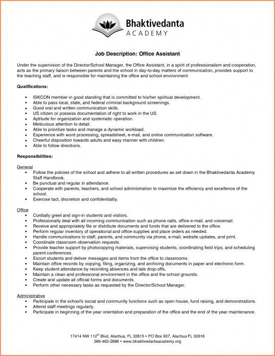 The Most Awesome Office Assistant Job Description For Resume ...