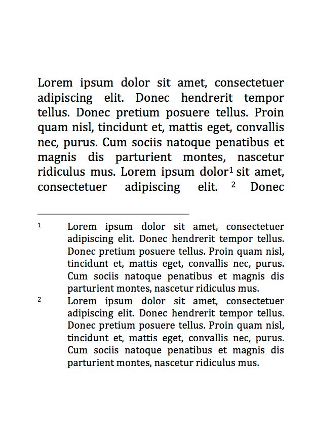 spacing - Space between footnote marks and the text of the ...