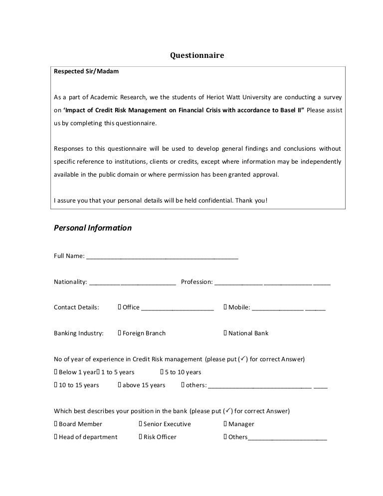 Questionnaire Template For Research - Contegri.com