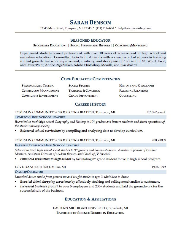Sample Resumes For Teachers | Free Resume Templates