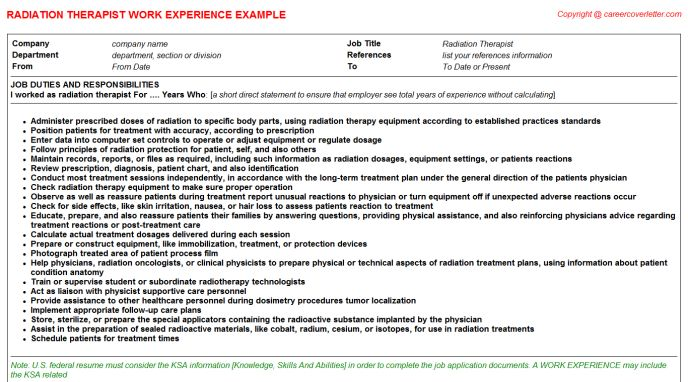 Radiation Therapist CV Work Experience Samples