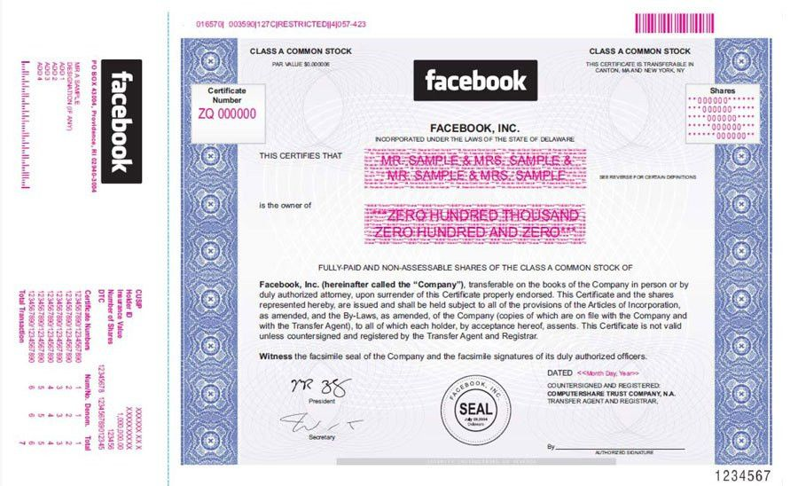 A New Facebook Derivative Trade: the Stock Certificate