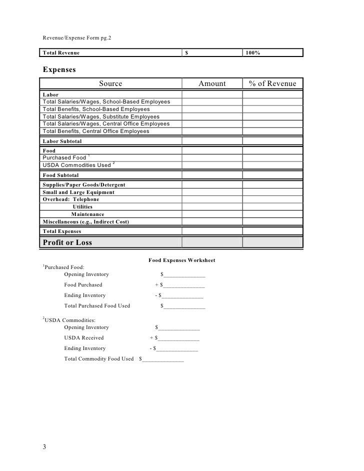 Profit and Loss Statement Worksheet
