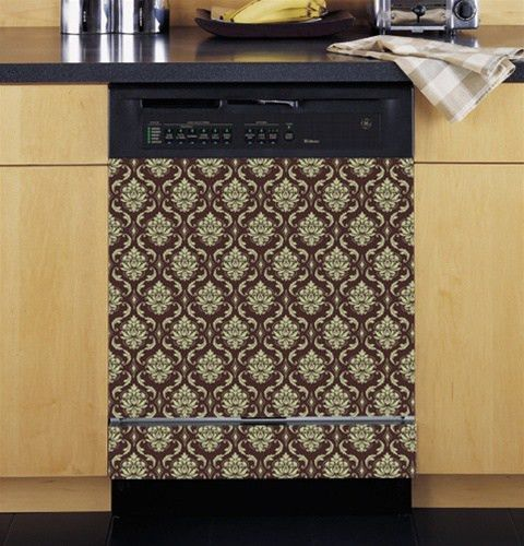 Damask Brown and Cream Custom Dishwasher Cover. Perfect Home ...